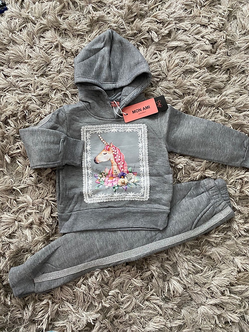 Unicorn hooded lounge set grey ages 4-14 Yrs