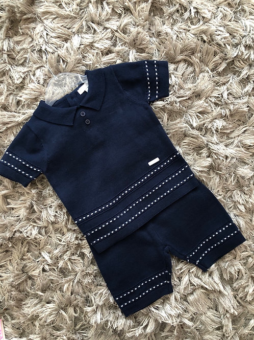 Blues baby navy spotted two piece set 0-24 M