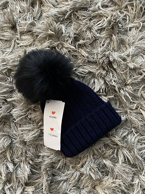 Kinder Pom faux fur hat navy 1-4 Years