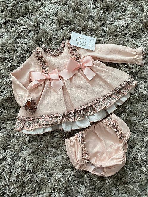 Wee Me Peachy floral puff ball dress 0-3 Yrs