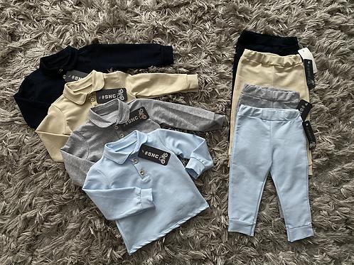 Boys collared two piece sets Navy/grey/Blue/beige 3-36 Months