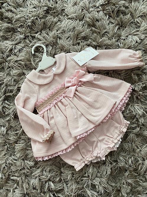 Wee Me pink/beige puff ball dress 12-3Yrs