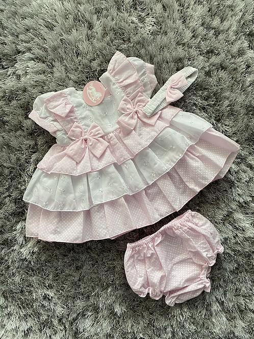 Pink polka dot tiered dress with headband 0-24 M