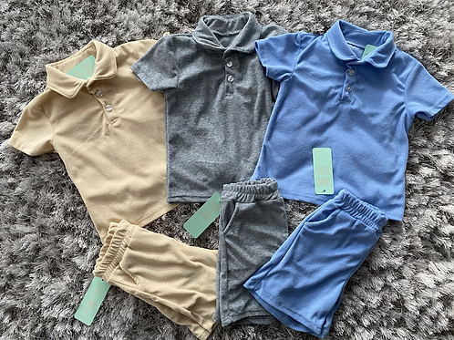 Boys collared towelling shorts sets ages 2-12 Years