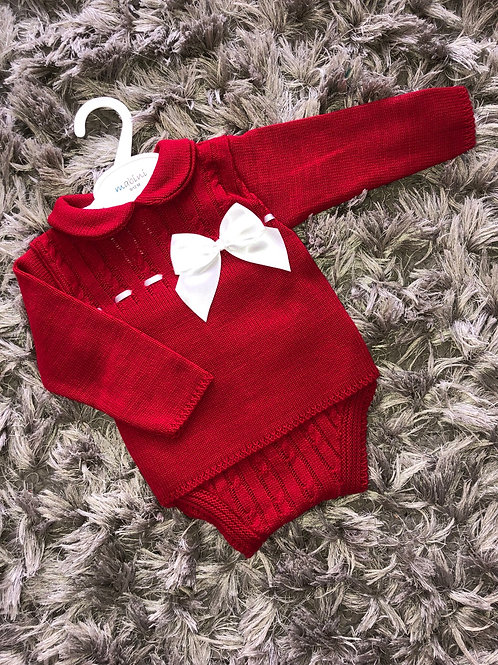 Mabini red knitted two piece set 9-18 M