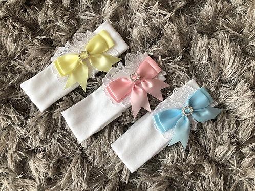 Kinder bow/lace headband 0-1 YRS