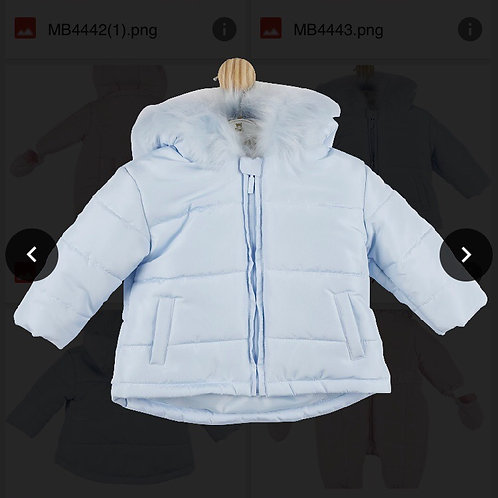 Mintini baby blue fur headed Coats 0-5 Yrs