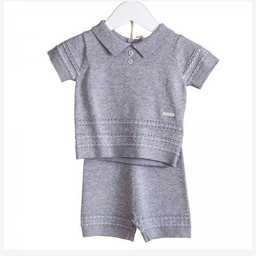 Blues baby grey marl two piece suit 9-24 M