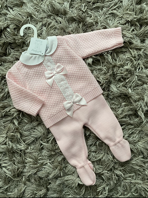 Spanish pink double bow two piece 0-6 Months