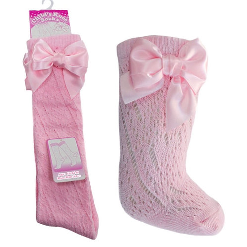 Soft touch pink Pelerine knee length bow socks 0-24 months