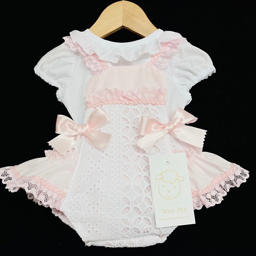 Wee Me bow and lace romper 12-36 Months