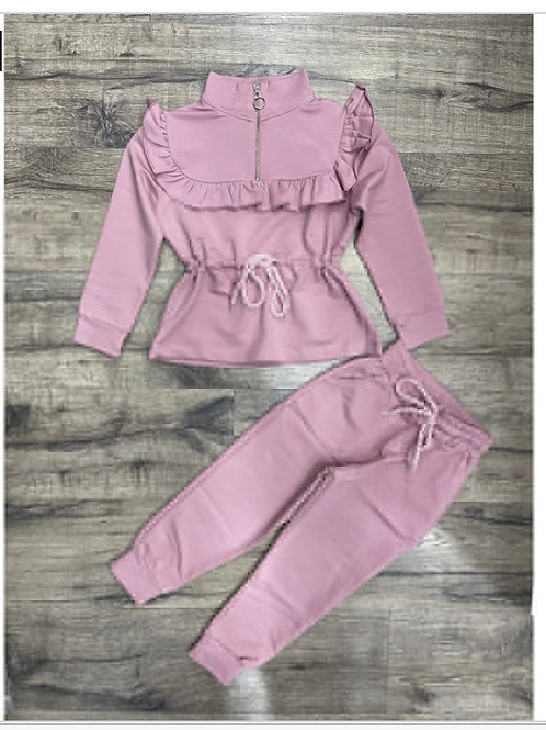 Dusky Pink tie waist lounge set Ages 2-10 Years