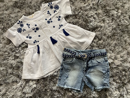 White/Navy embroidered top and shorts set ages 2-5 Years