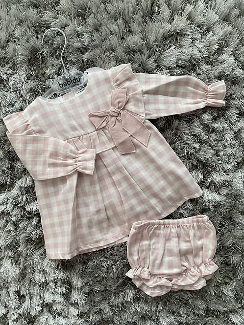 Babidu pink gingham dress set 3-24 Months