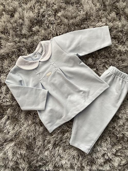Babidu baby blue pleated jogging suit 3M - 3Y