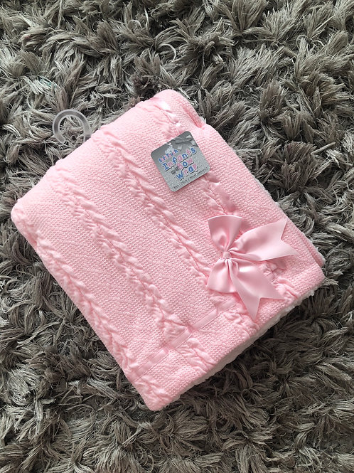 Soft touch pink bow blanket
