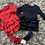 Thumbnail: Double bow dress red/navy Age 2-12 Years