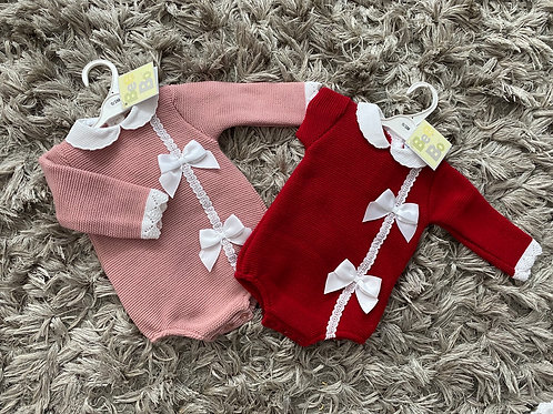 Bee Bo double bow romper 0-12 Months Dusky pink/red