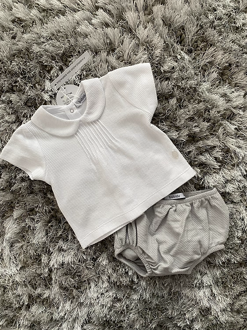 Babidu white/grey two piece set 3M - 36 M