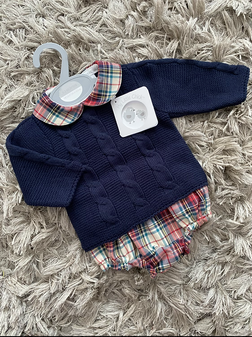 MLC Navy tartan jumper short suit NB -9 Months
