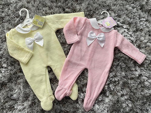 Spanish bow rompers lemon/pink 0-9 Months