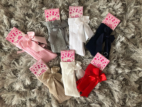 Spanish bow knee high socks 0-6 YRS