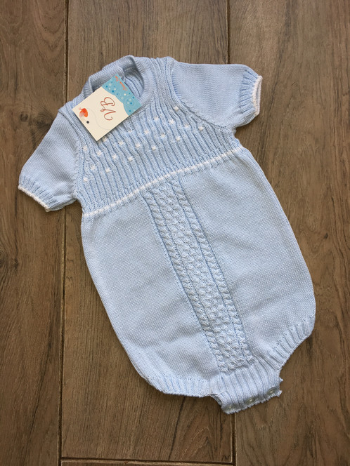 Vb Knitted Romper With Dot Knit Girls Spanish Dresses Baby Wear