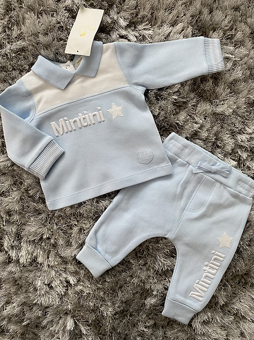 Mintini blue/white star jogging suit 3M-5Y