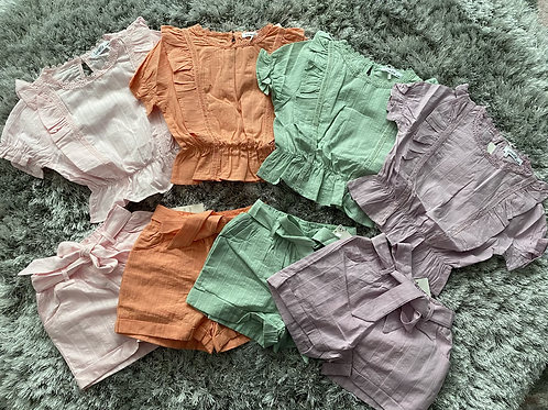 Girls ruffled shorts sets ages 4-14 Years