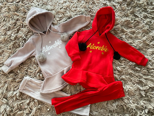 Girls Pom Pom hooded suits ages 2-8 Years