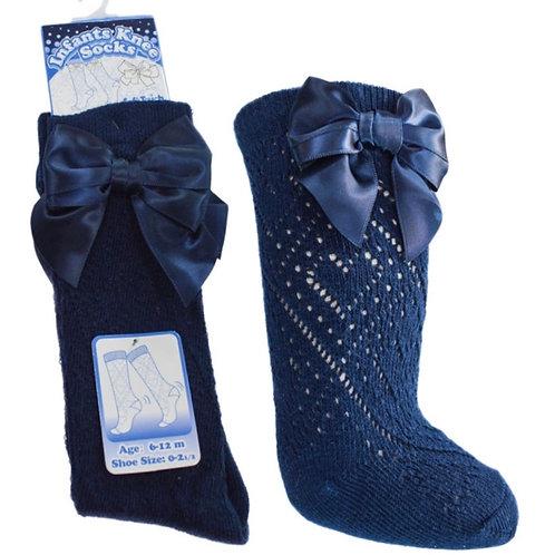 Soft touch Pelerine knee length bow socks 0-24 months navy