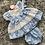Thumbnail: Blue polka dot tiered dress with head band 0-24M