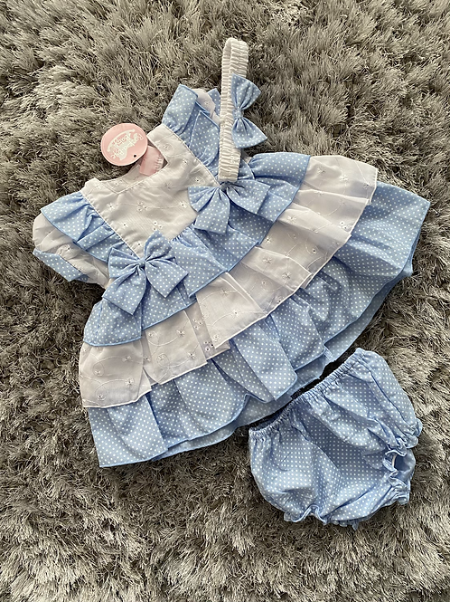 Blue polka dot tiered dress with head band 0-24M