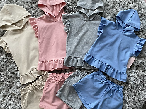 Hooded ruffle shorts sets ages 4-14 Years