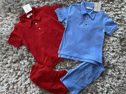 Boys buttoned collared coord shorts set ages 2/10 Yrs