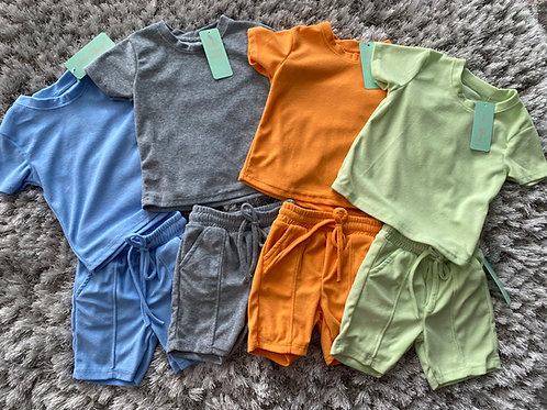 Boys round neck towelling shorts sets ages 2-12 Years