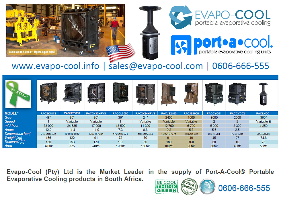 Port-A-Cool product specifications