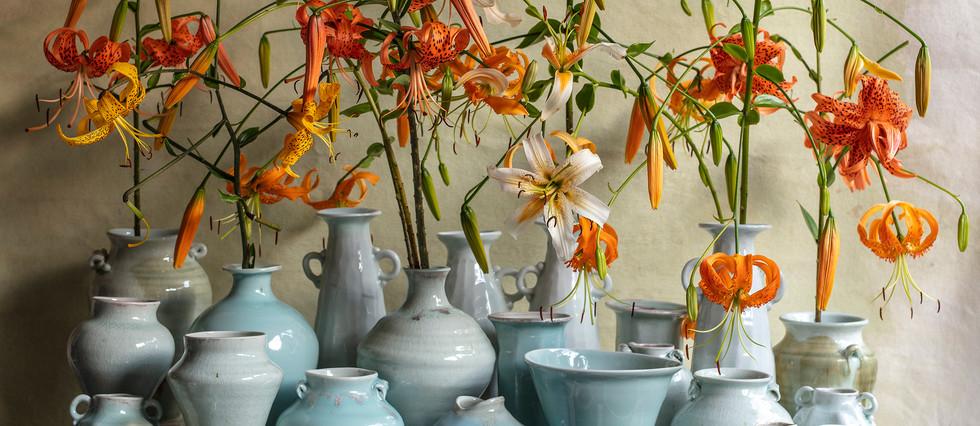Blue vases by Frances Palmer
