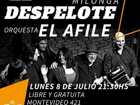 El Despelote Milonga, 8 de junio concierto, entrada libre y gratuita