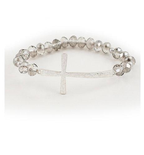 Silver Stretch Hammered Cross Bracelet