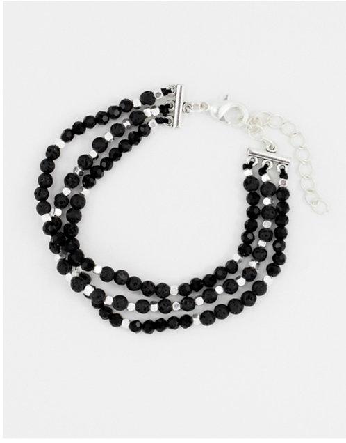 Triple Strand Black Cynthia Bead Bracelet