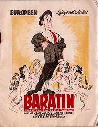 """Couverture du programme de l'opérette """"Baratin""""."""