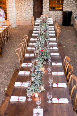 farm table in rows