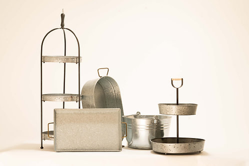 Galvanized Metal Serving Pieces