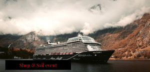 Cruise ship surrounded by low hanging clouds.