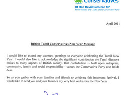 Happy Tamil New Year from the Prime Minister
