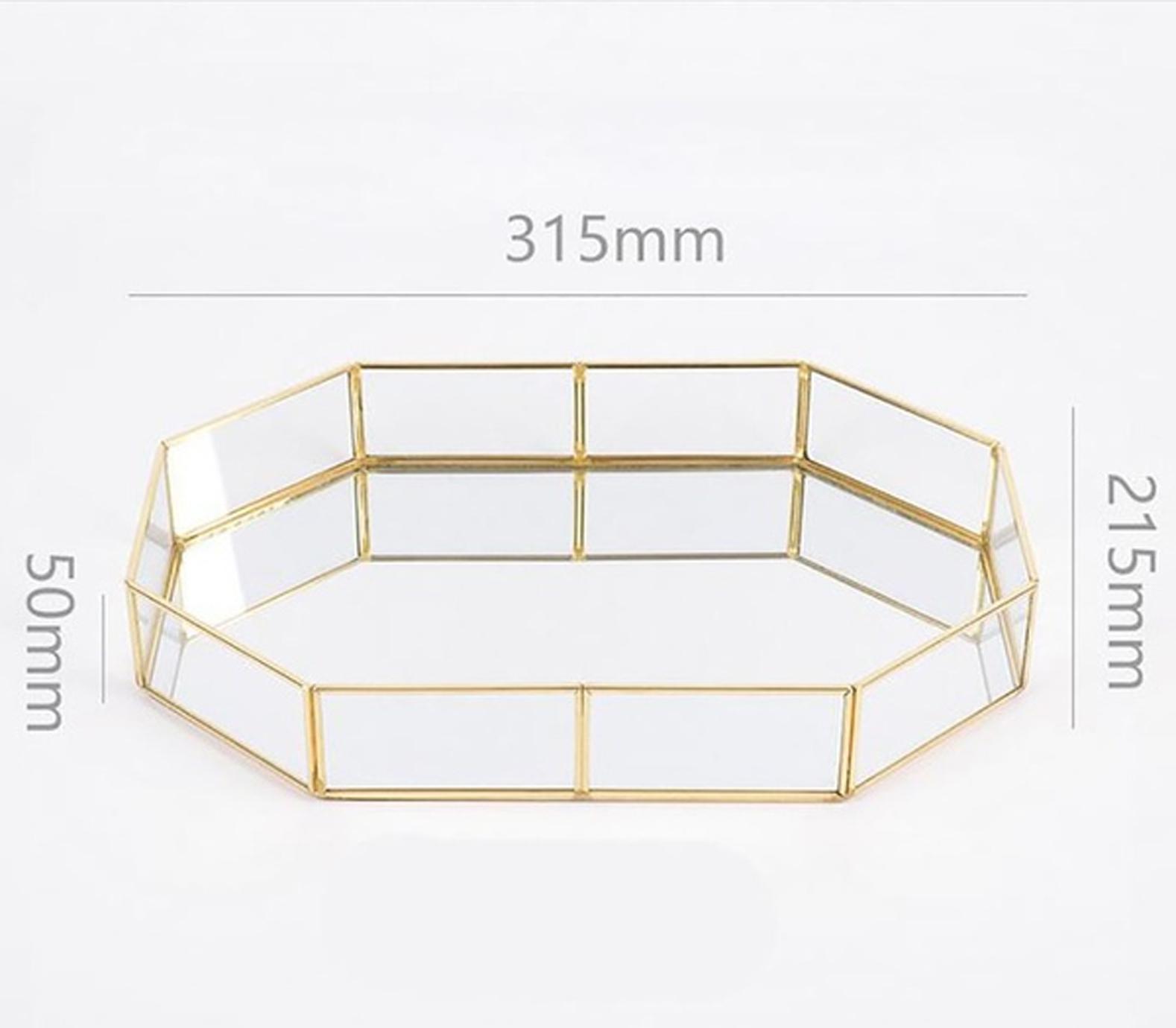 Geometric glass and gold platter