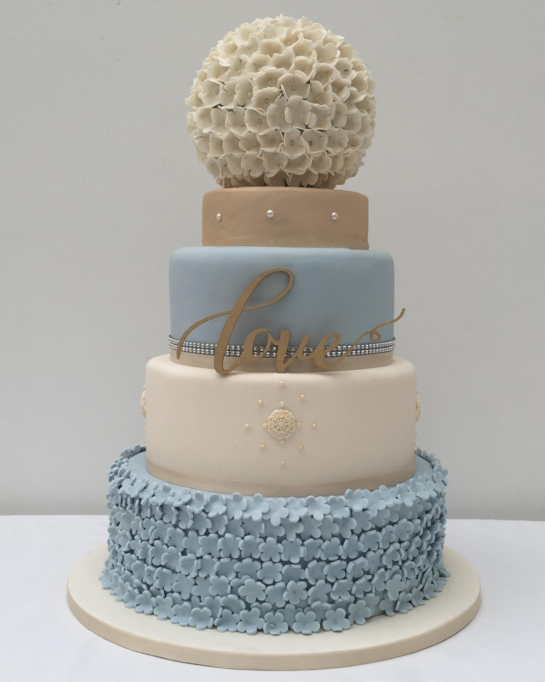 Blue Ivory Wedding Cake