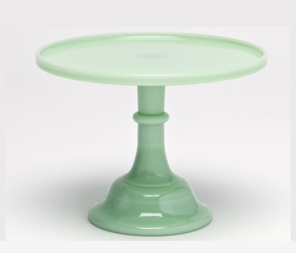 Green ceramic cake stand to hire