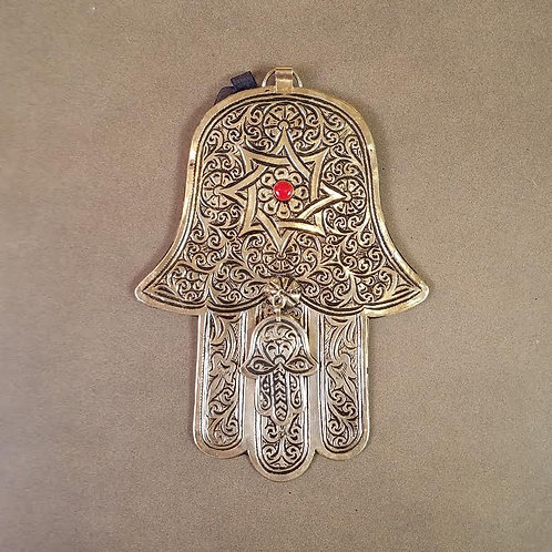 Silver Plated  Double Hamsa Hand with Red Accent, Large